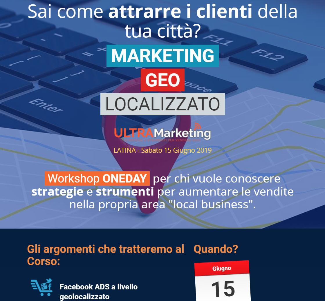 Locandina evento Geolocalizzazione Ultra Marketing
