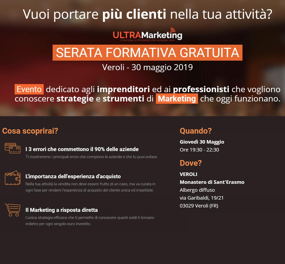 Locandina evento One Nighe Ultra Marketing Veroli 30 maggio 2019